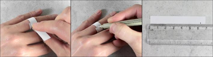pomiar pierścionka przy użyciu paska papieru